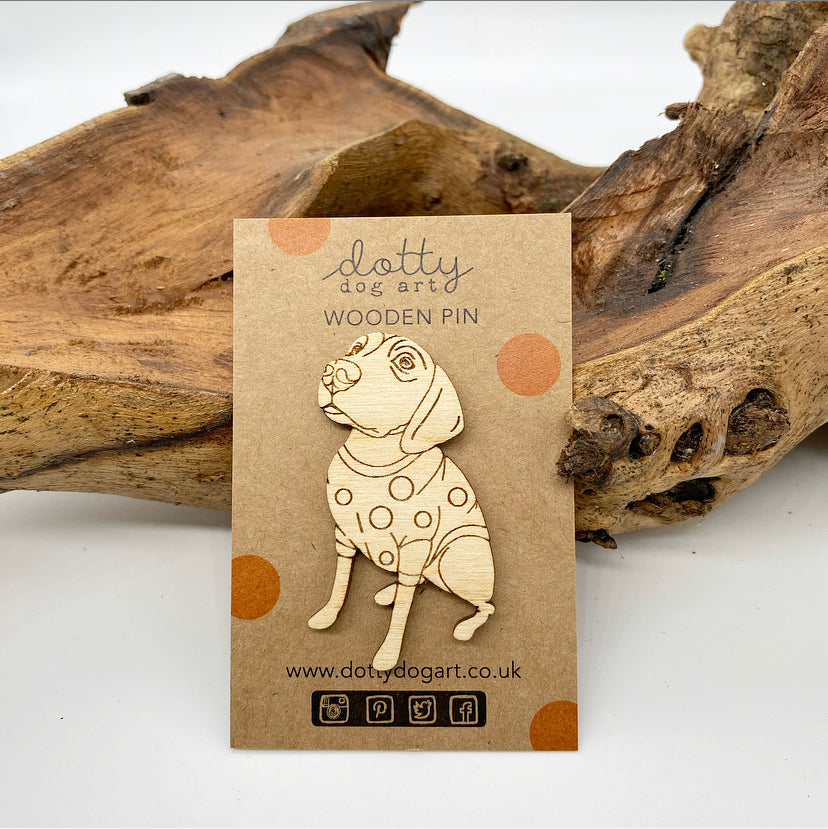 Wooden Retriever Dog Pin Brooch