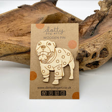 Load image into Gallery viewer, Wooden Staffy Dog Pin Brooch