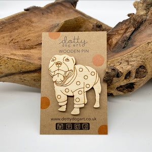 Wooden Staffy Dog Pin Brooch