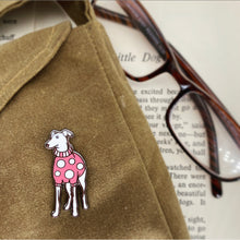 Load image into Gallery viewer, Enamel Red Whippet Pin / Brooch