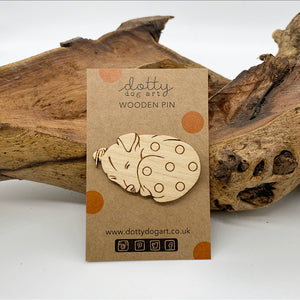 Wooden Sleeping Dog Pin Brooch