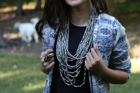 grey multi layer handcrafted wood necklace