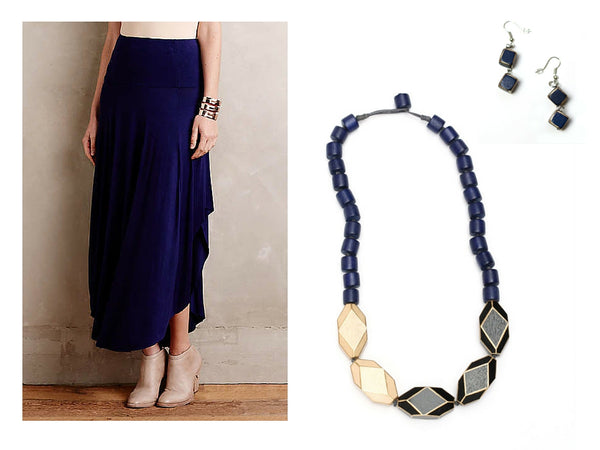 Blue maxi skit with blue handcrafted necklace