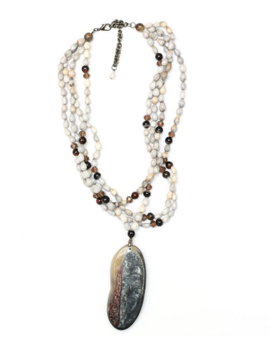 Handmade beaded necklace with big pendent