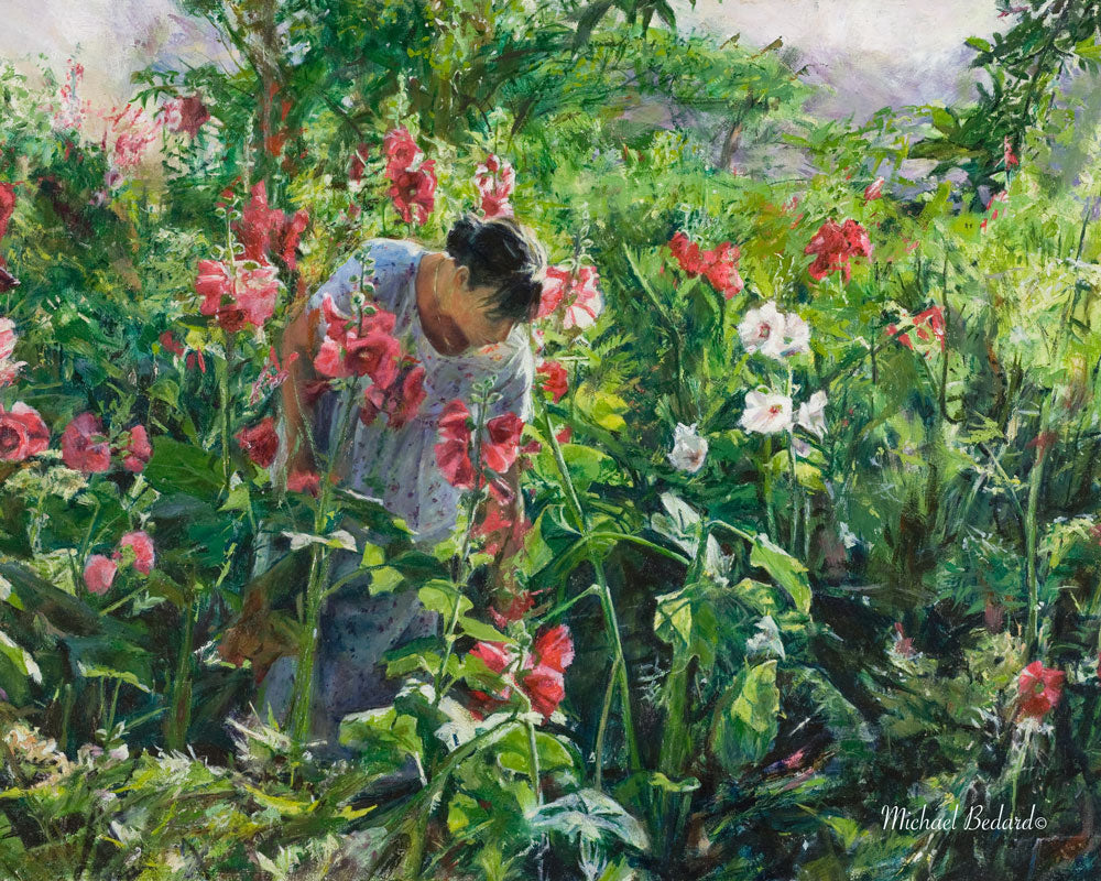 Sarah Harvesting Hollyhollyhocks