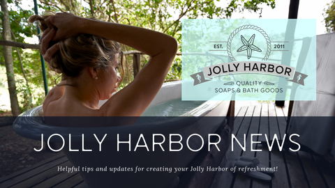 Woman bathing outdoors, refreshing bath, safe haven, relaxation, home spa. Jolly Harbor Soap Market spa.