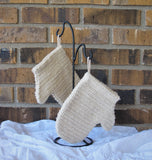 Sisal Woven Cloth Bath Mitt with hanging loop