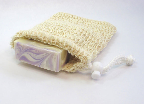Natural Sisal Soap pocket, soap saver. pull string closure.