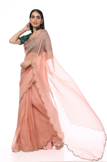 Onion Pink Embroidered Organza Saree With Blouse