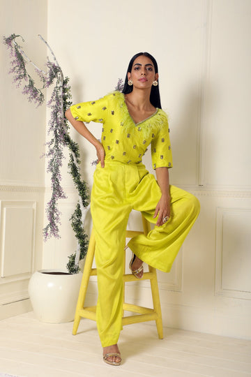 Lime Embroidered Bamber Silk Jumpsuit