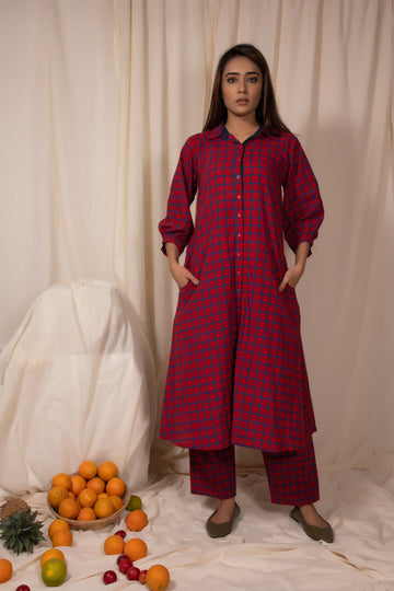 Red Block Printed Cotton Tunic With Pants (Set of 2)