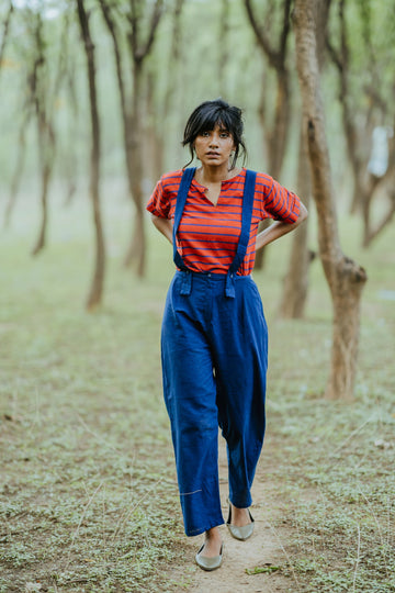 Red Blue Block Printed Cotton Top with Pants