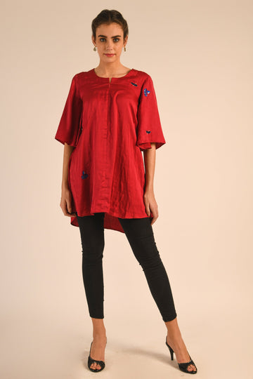Red Hand Embroidered Silk Tunic