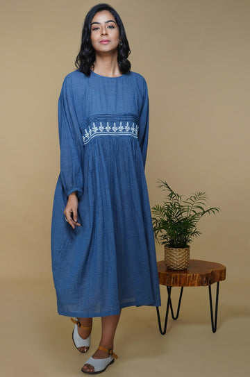 Naby Blue Hand Embroidered Cotton Dress in Floral Chikankari