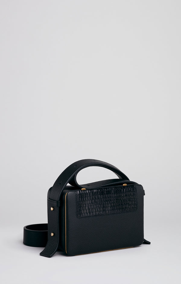Maya | Black 'Mini-Croco' Judd Intarsia