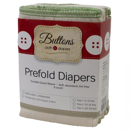 Buttons Diapers - Bamboo/Cotton Prefold - Single