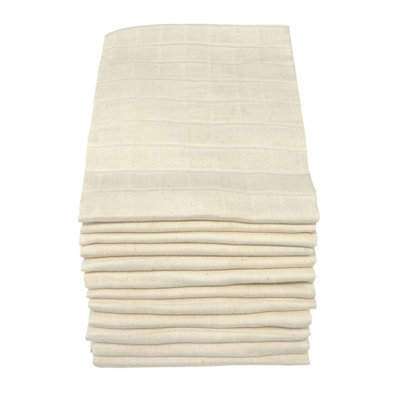 MuslinZ - Muslin Squares 70x70cm – Unbleached 12 pack