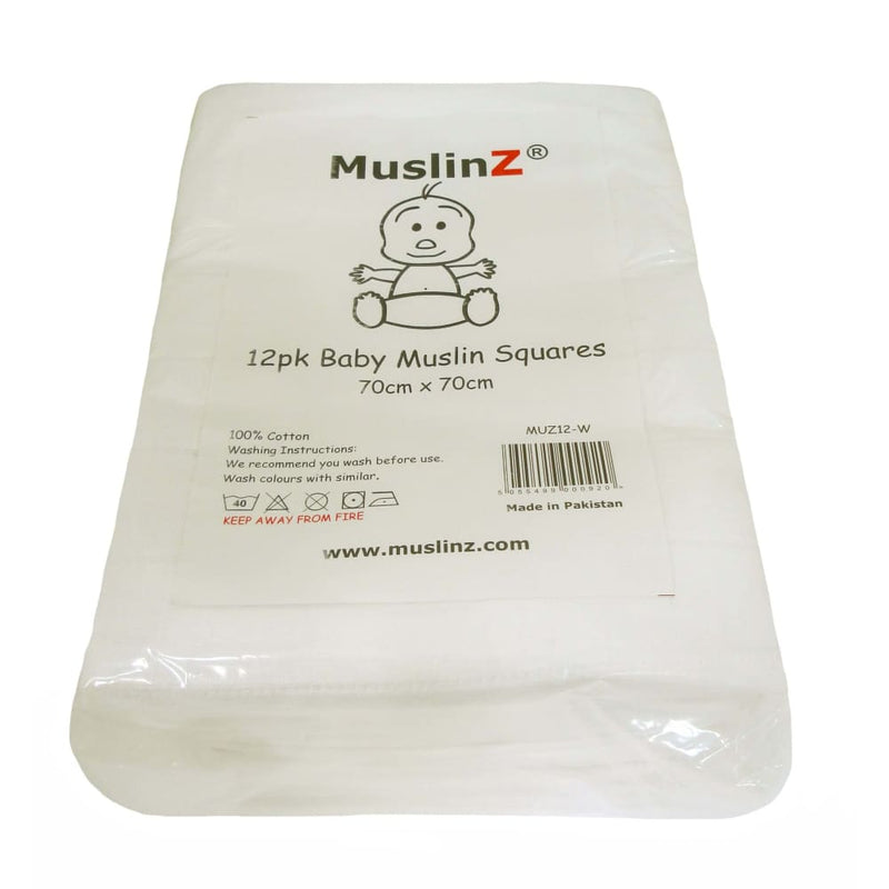 MuslinZ - Muslin Squares 70x70cm – White 12 pack