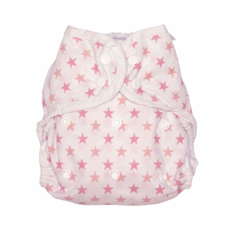 MuslinZ - Washable Nappy Wrap – SIZE 2 - Pink Star