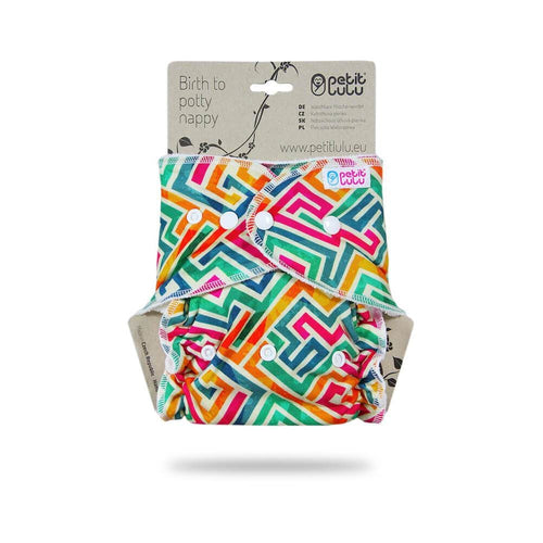 Petit Lulu - Fitted One Size Nappy (Snaps) - Labyrinth
