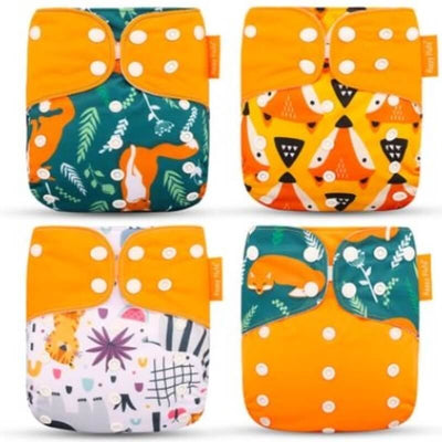 4-Pack Washable Cloth Diapers w/ Inserts