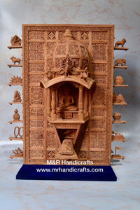Sandalwood Carved Lord Mahaveera Jainism Jharokha with 14 Opening Lids - Malji Arts
