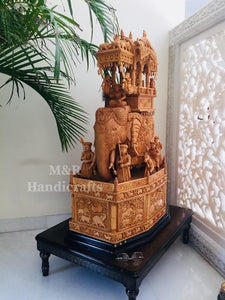 Wooden fine Carved Royal Elephant Ambabari - Malji Arts