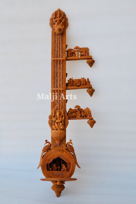 2.4 ft Sandalwood Opening Sitar or Veena Collective Art-piece - Malji Arts