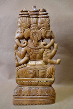 Load image into Gallery viewer, Sandalwood Vintage Large Size 3 Face Rare Ganesha Sitting Statue - Malji Arts