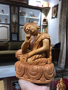 Wooden Smiling Buddha Resting Statue