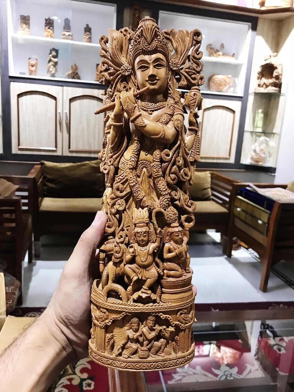 Sandalwood Carved Lord Krishna Statue Collective Art Piece