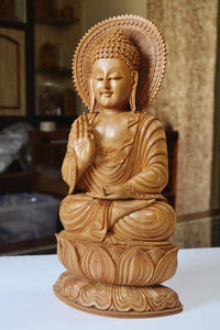 Large Sandalwood Fine Hand Carved Buddha Sitting Statue - Malji Arts