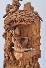 Load image into Gallery viewer, Sandalwood Shiva Resting Statue Under Tree - Malji Arts