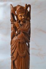 Load image into Gallery viewer, Indian Art Natural Sandalwood Hand Carved Indian God Lord Krishna Statue for home office decor and gift purpose - Malji Arts