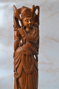 Indian Art Natural Sandalwood Hand Carved Indian God Lord Krishna Statue for home office decor and gift purpose - Malji Arts