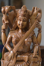 Load image into Gallery viewer, Sandalwood Hindu Goddess Saraswati Fine Hand Carved Statue