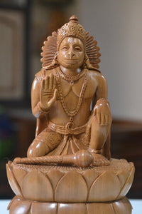 Sandalwood Unique Lord Hanuman Statue On Lotus - Malji Arts