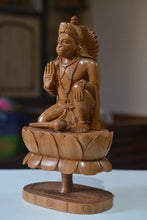 Load image into Gallery viewer, Sandalwood Unique Lord Hanuman Statue On Lotus - Malji Arts