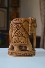 Load image into Gallery viewer, Sandalwood Hand Carved Round Elephant with Base