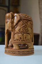 Load image into Gallery viewer, Sandalwood Hand Carved Round Elephant with Base - Malji Arts