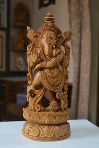 Sandalwood Dancing Ganesha Decorative Statue - Malji Arts