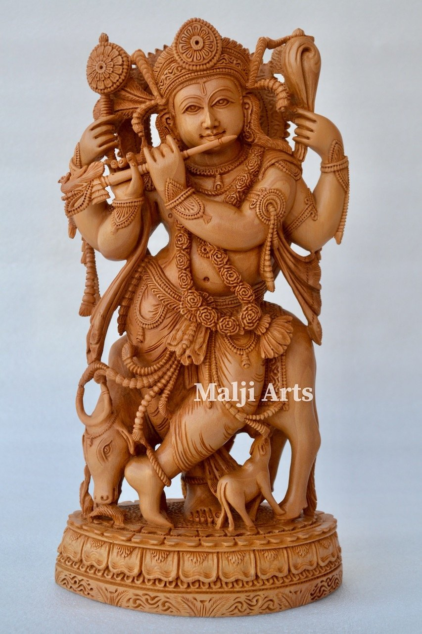 Standing Krishna Statue with Cow Wooden Fine Hand Carved Statue - Malji Arts