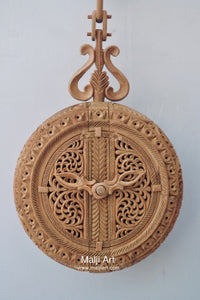 Sandalwood Carved Opening Pocket Watch Collective Piece - Malji Arts