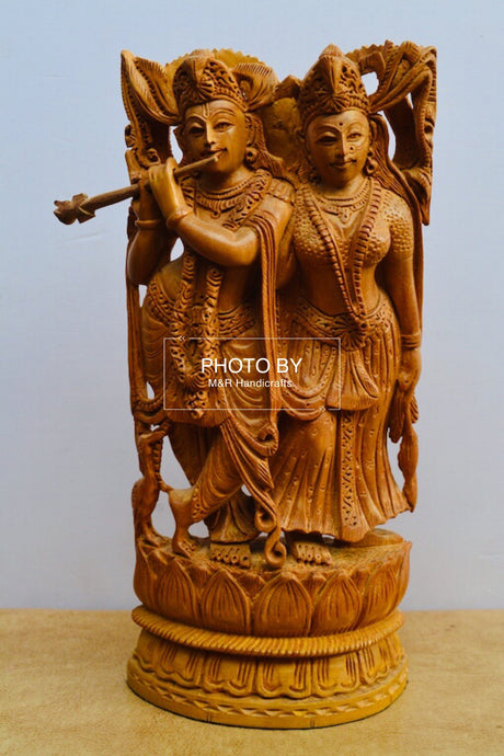 Sandalwood Beautifully Carved Radha Krishna Statue - Malji Arts