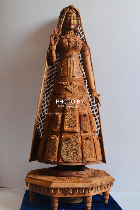 Sandalwood fine Carved Art Piece Rajasthani Lady - Malji Arts