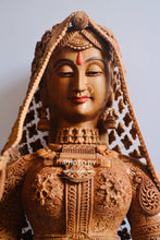 Load image into Gallery viewer, Sandalwood fine Carved Art Piece Rajasthani Lady - Malji Arts