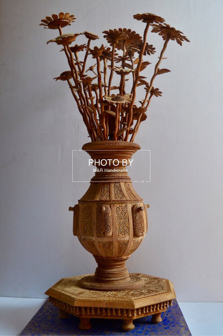 Sandalwood Fine Carved Decorative Flowerpot - Malji Arts
