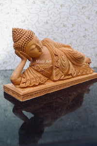 Wooden Fine Hand Carved Sleeping Buddha Statue - Malji Arts