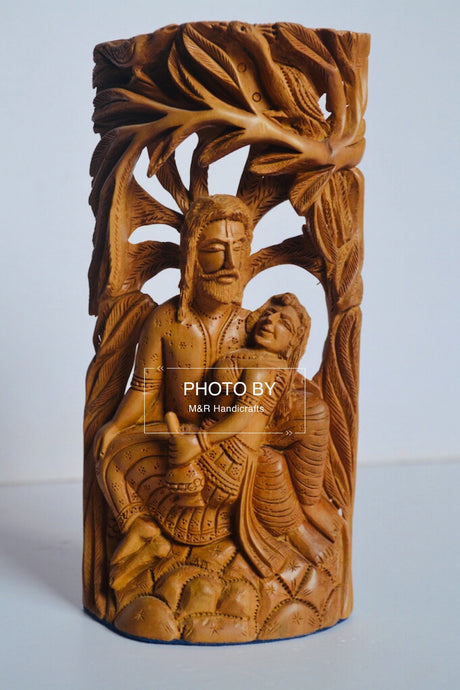Sandalwood Carved Mughal Love Scene Statue - Malji Arts
