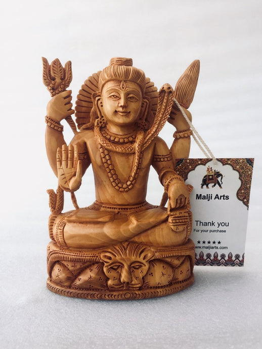 Wooden Hand Carved Shiva Statue - Malji Arts